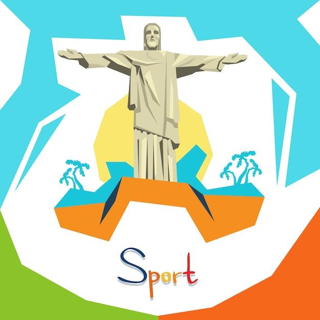 Schattenbild-jesus-statue rio sport competition Premium Vektoren
