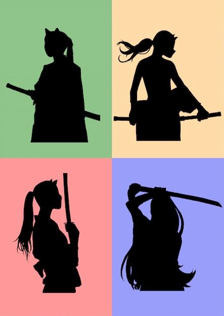 Schattenbild maskierte samurai-mädchen Premium Vektoren