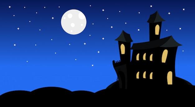 Schattenbild-schloss mit geistern im mondschein-furchtsamen schatten-glücklicher halloween-illustration süßes sonst gibt's saures konzept-feiertag Premium Vektoren