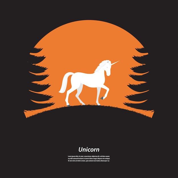 Schattenbildeinhornpferd im wald Premium Vektoren