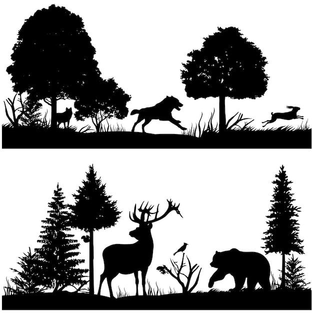 Schattenbilder der wilden tiere in der grünen tannenwaldvektorillustration Premium Vektoren