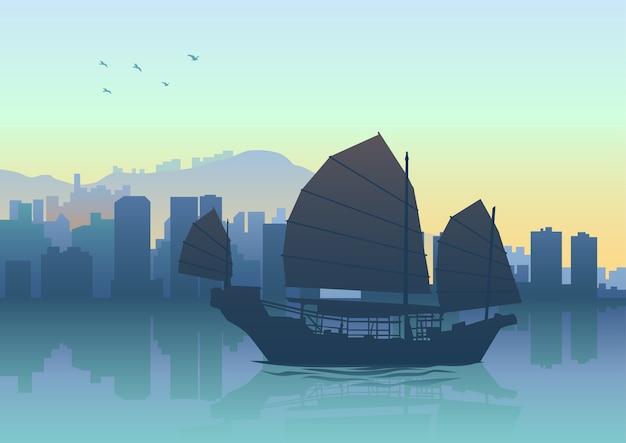 Schattenbildillustration des schrotts in hong kong Premium Vektoren
