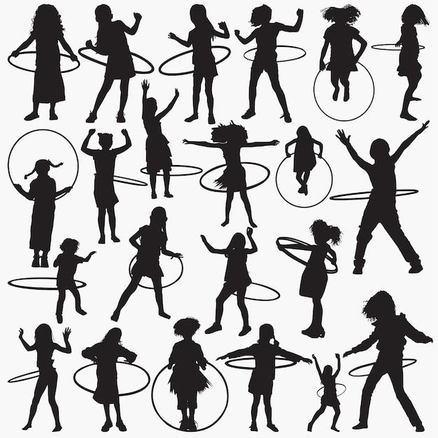 Schattenbildmädchen mit hula bandsatz Premium Vektoren