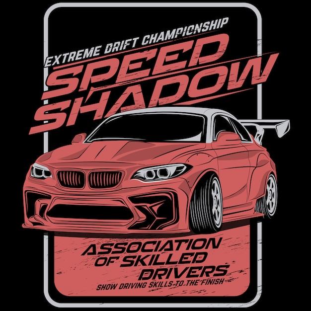 Schattengeschwindigkeitsdrift, vektorautoillustrationen Premium Vektoren