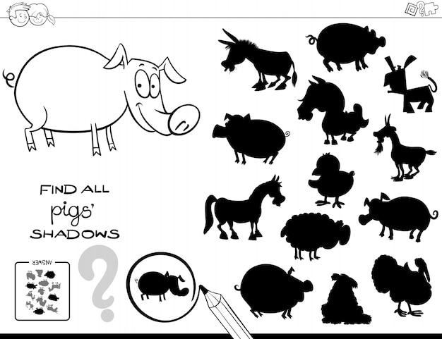 Schattenspiel mit Farbbuch der Schweine | Download der Premium Vektor