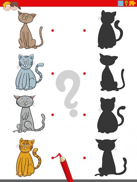Schattenspiel mit katzencharakteren Premium Vektoren