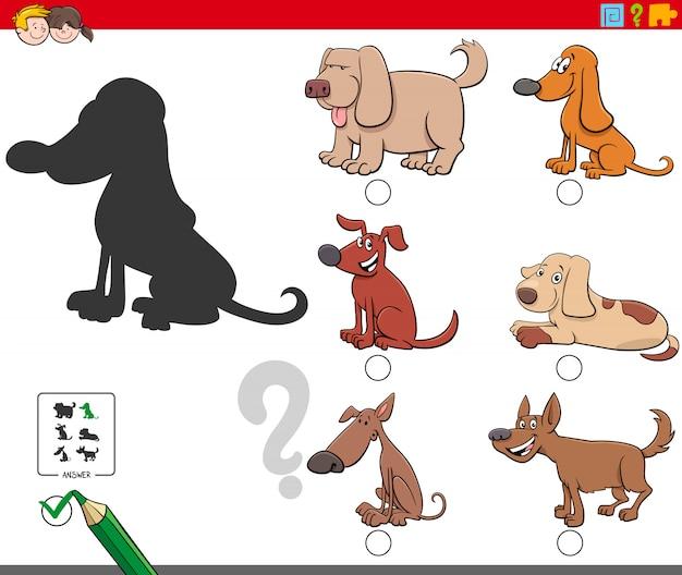 Schattenspiel mit niedlichen hundecharakteren Premium Vektoren