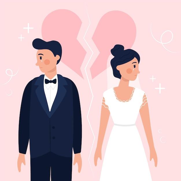 Scheidungsillustrationskonzept Kostenlosen Vektoren