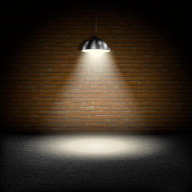 Scheinwerfer auf backsteinmauerhintergrund. Premium Vektoren