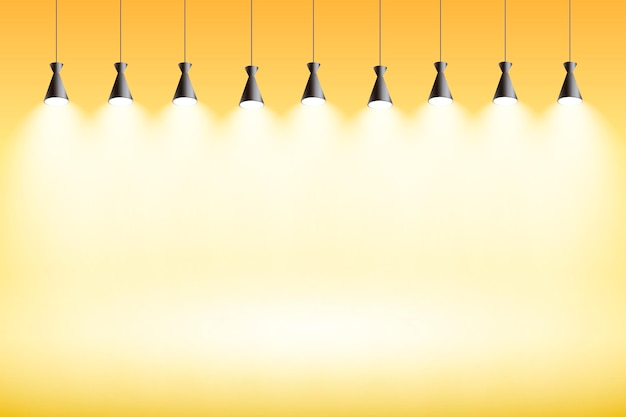 Scheinwerfer hintergrund gelbes studio Kostenlosen Vektoren