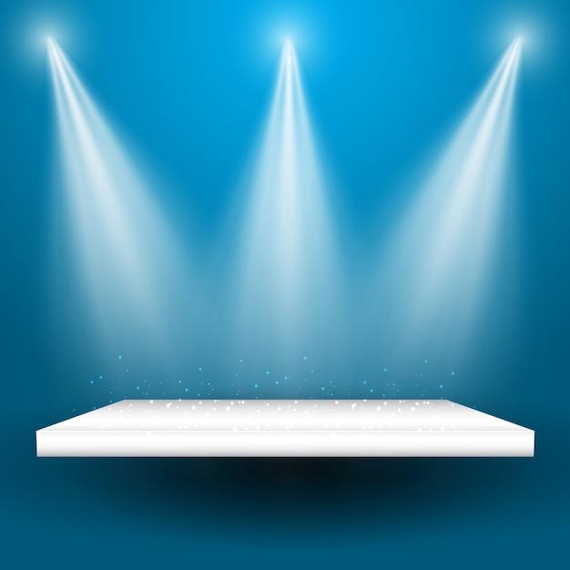 Scheinwerfer leuchten auf ein leeres regal Kostenlosen Vektoren