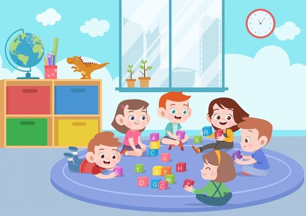 Scherzt die kinder, die mit blockspielwarenillustration spielen Premium Vektoren