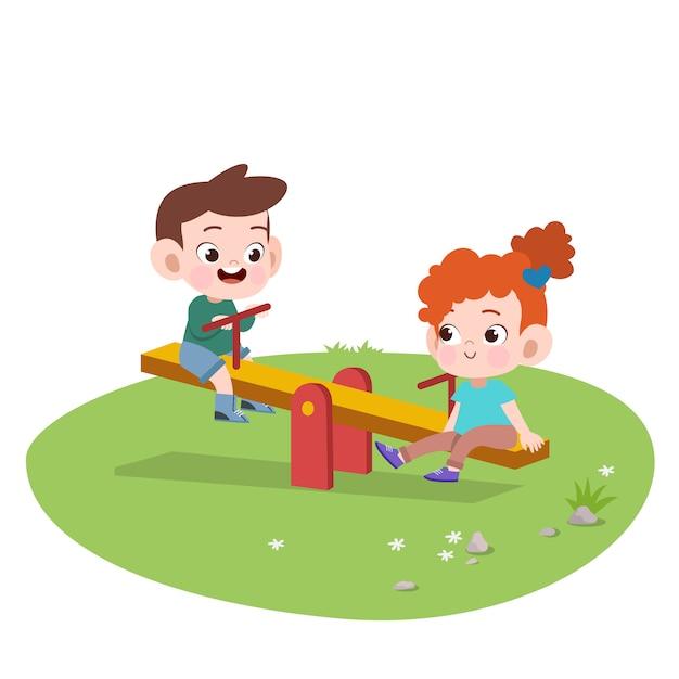 Scherzt die kinder, die spielplatzillustration spielen Premium Vektoren