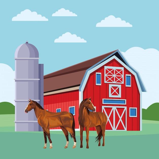 Scheune und pferde Premium Vektoren