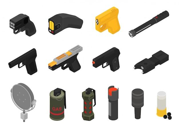 Schießen sie militärische nicht tödliche waffengranatengewehrarmeepistole des vektors und automatische feuerwaffe des krieges mit kugelsatz Premium Vektoren