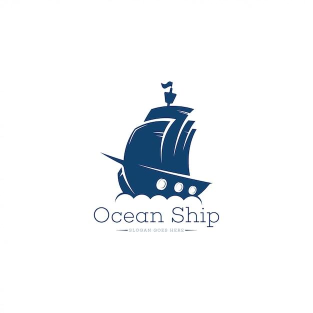 Schiff logo vorlage Premium Vektoren