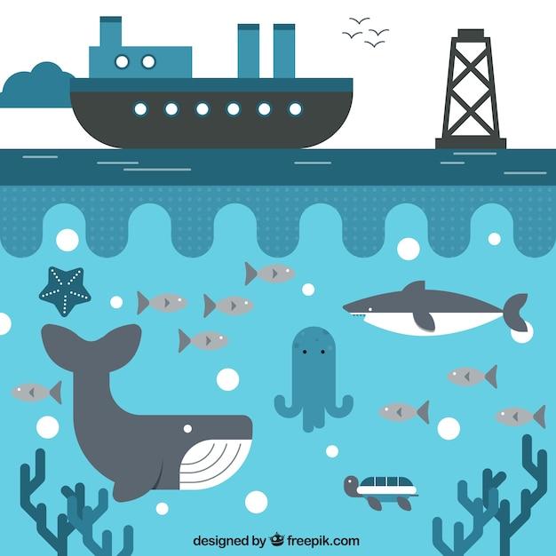 Schiff und das leben im meer Kostenlosen Vektoren