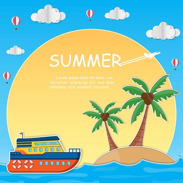 Schiff und kokosnussbaum mit meer in der sommerzeit. Premium Vektoren