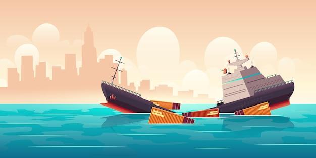 Schiffbruch des frachtschiffs, schiff, das in ozean sinkt Kostenlosen Vektoren
