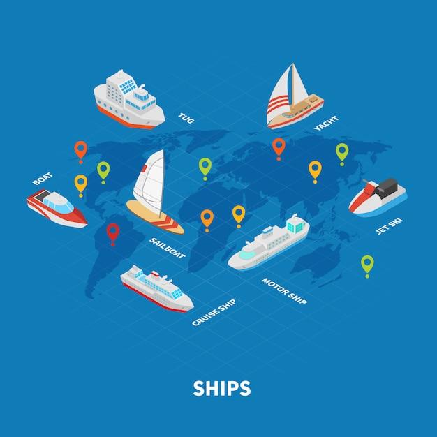 Schiffe isometrische infografiken Kostenlosen Vektoren