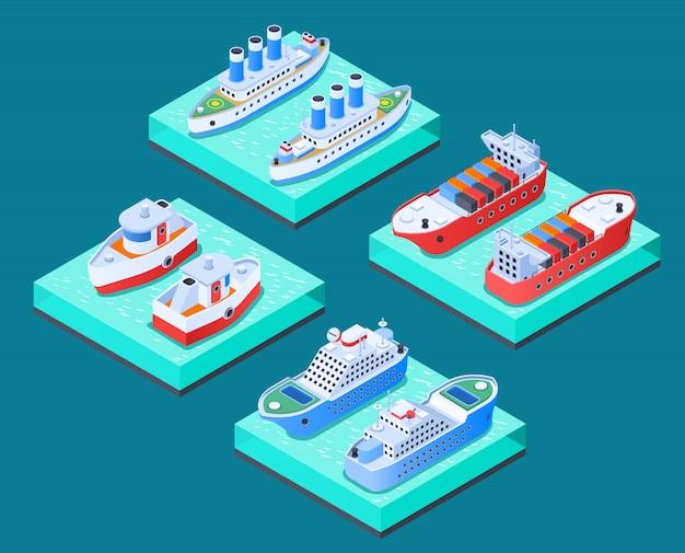 Schiffs-isometrisches konzept des entwurfes Kostenlosen Vektoren