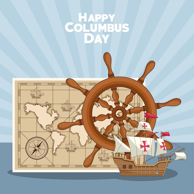 Schiffsruder und happy columbus day design Premium Vektoren
