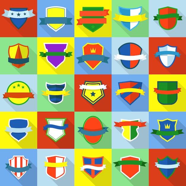 Schild abzeichen icons set. flache illustration von 25 schild ausweisikonen für web Premium Vektoren