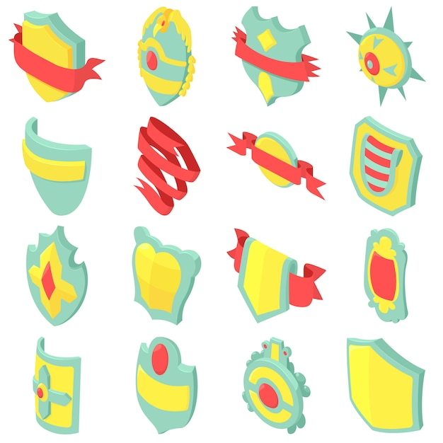 Schild abzeichen icons set. isometrische illustration von 16 schildausweis-vektorikonen für netz Premium Vektoren