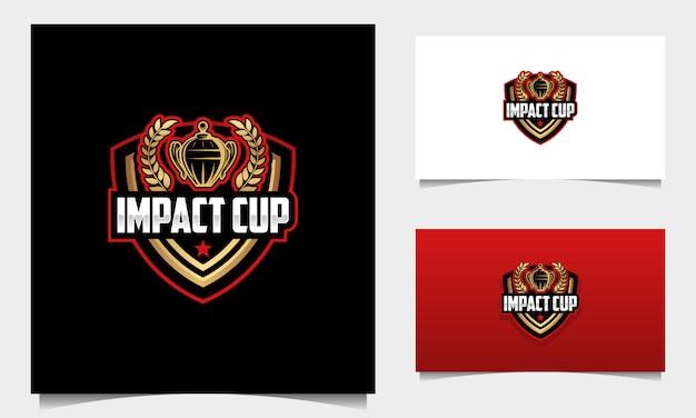 Schild maskottchen tournament cup logo design vektor Premium Vektoren