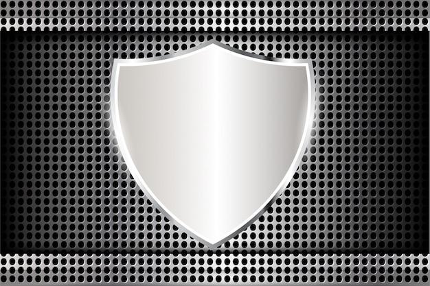 Schild metall auf perforierte textur Premium Vektoren