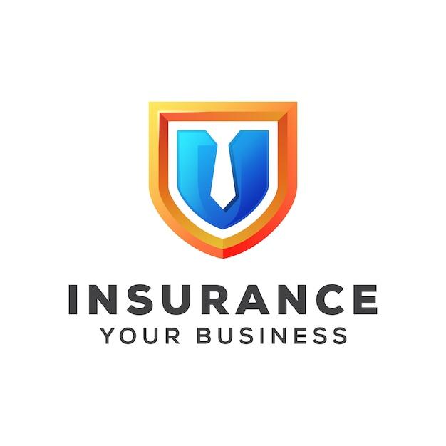 Schild mit krawattenversicherungsgeschäftslogo-entwurfsschablone Premium Vektoren