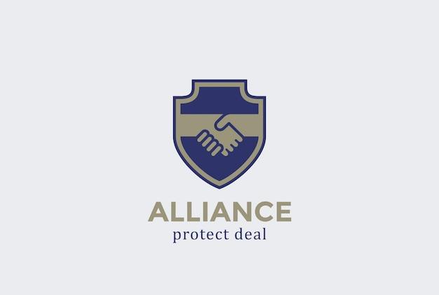Schild schützen deal handshake logo vektor-symbol. Kostenlosen Vektoren