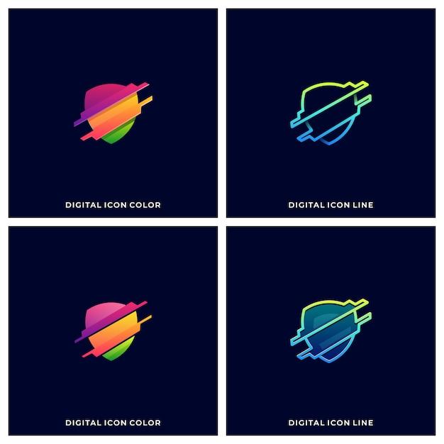 Schild technologie illustration Premium Vektoren