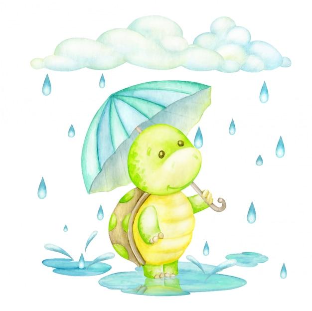 schildkröte die mit einem regenschirm im regen steht
