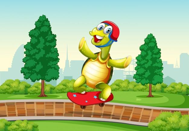 Schildkröte, die skateboard im park spielt Kostenlosen Vektoren