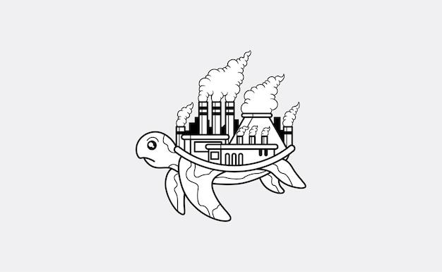 Schildkröte mit einer verunreinigten fabrik auf seiner hinteren illustration Kostenlosen Vektoren