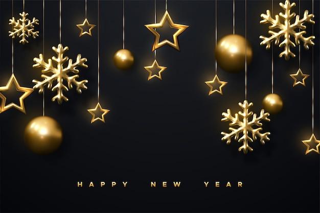 Schimmernde goldene schneeflocken, weihnachtskugeln und sterne auf schwarzem hintergrund. 3d illustration der leuchtenden hängenden cristmas verzierung. neujahrs-cover oder banner-vorlage. Premium Vektoren