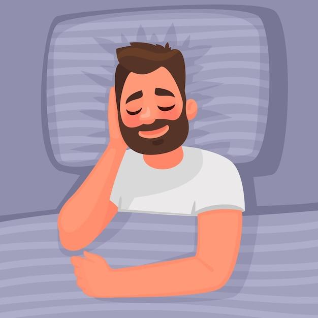 Schlaf. ein mann schläft im bett. gute nacht. im cartoon