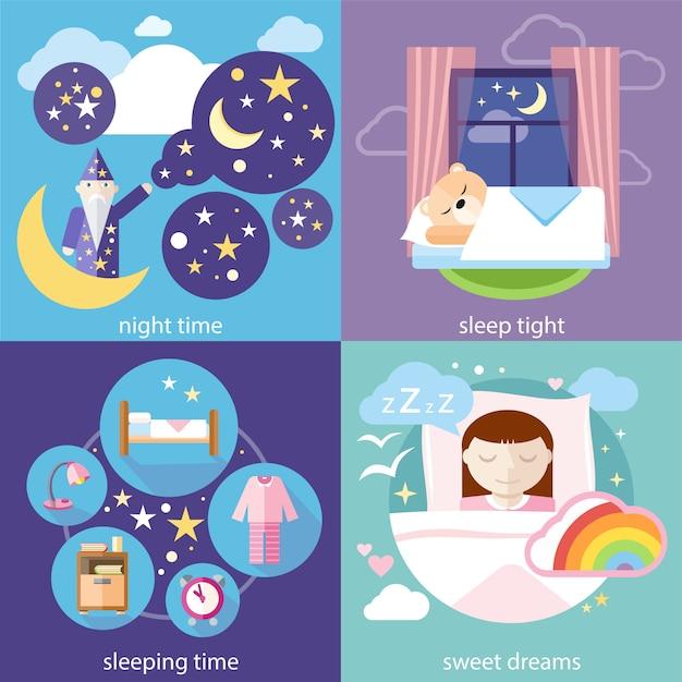 Schlaf und nachtzeit, süße träume Premium Vektoren