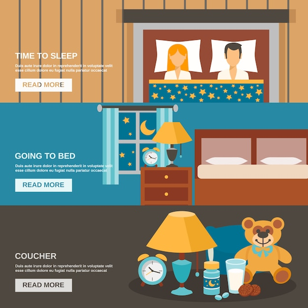Schlaf-zeit-fahnen-set Kostenlosen Vektoren