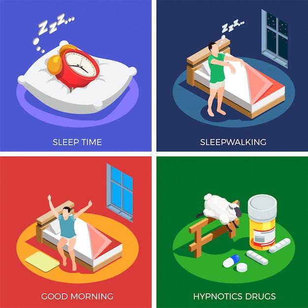 Schlaf-zeit-isometrisches konzept des entwurfes Kostenlosen Vektoren