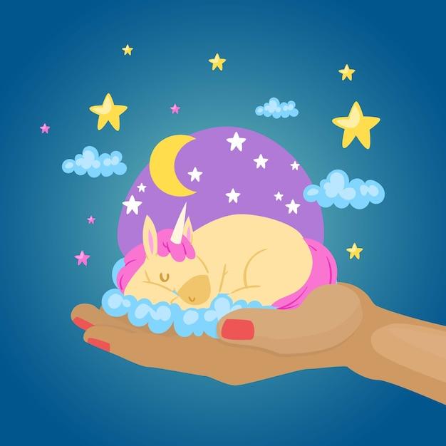 Schlafen buntes einhorn, fantasie magische tierphantasiewelt, babyhand, niedlicher süßer traum, illustration. regenbogenpony, schöne märchenfee, mythologischer pegasus. Premium Vektoren