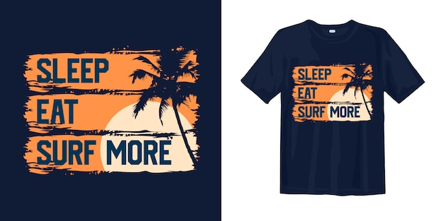 Schlafen, essen, mehr surfen mit sunset palm silhouette für print t-shirt Premium Vektoren