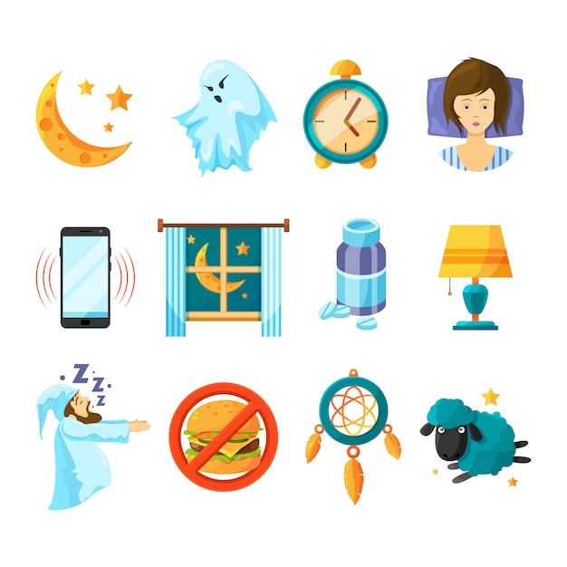 Schlafen-icon-set Premium Vektoren
