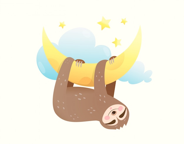 Schlafende augen des kleinen babyfaultiers geschlossen, glücklich lächelnd im traum, der auf dem mond hängt. süßes tierjunges träumt von sternen und mond. Premium Vektoren