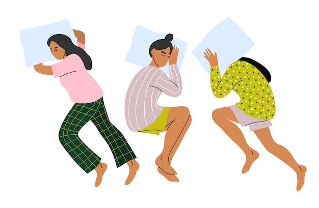 Schlafende frau eingestellt. schlafen sie auf dem bauch und auf der seite. Premium Vektoren