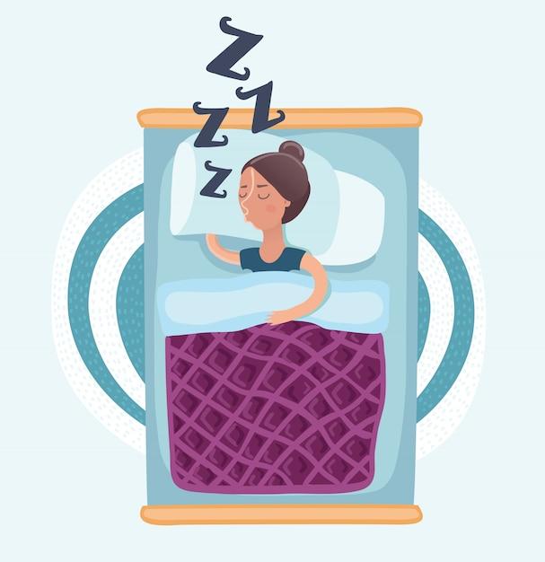 Schlafende frau Premium Vektoren