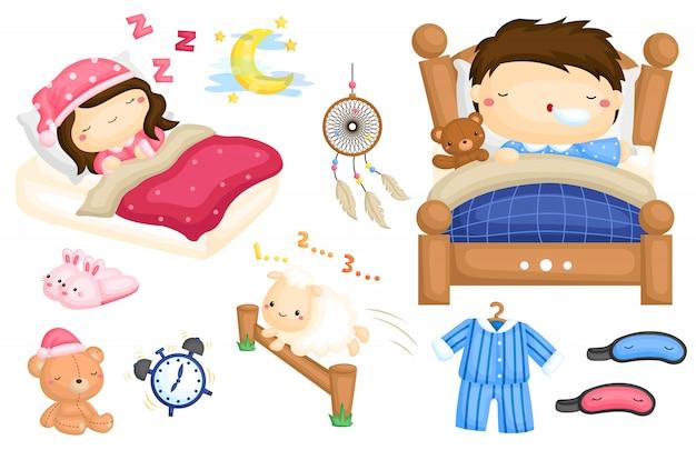 Schlafende kinder image set Premium Vektoren