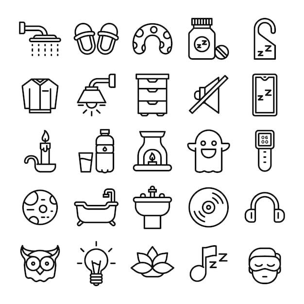 Schlafende symbole packen. isolierte schlafende symbolsammlung. grafisches ikonenelement Premium Vektoren