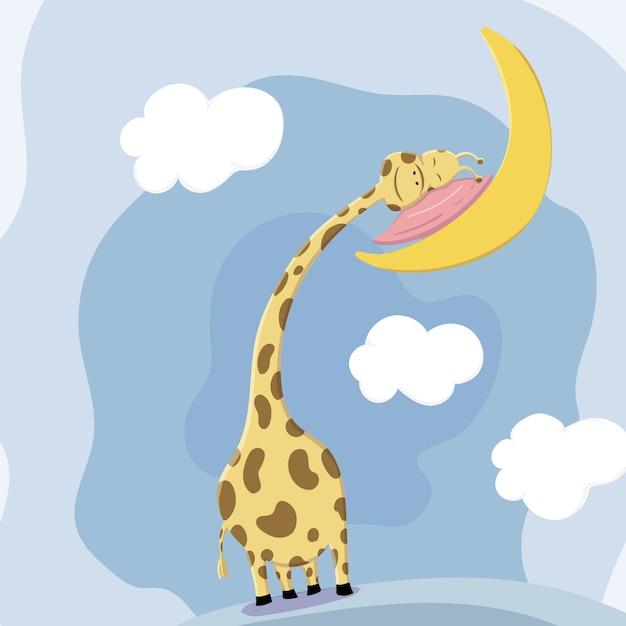 Schlafender kopf der niedlichen giraffe steht auf dem kissen still Premium Vektoren